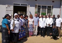 The Moderator, Dr. McNeely with officials of the Church of Central Africa Presbyterian Synod of Zambia